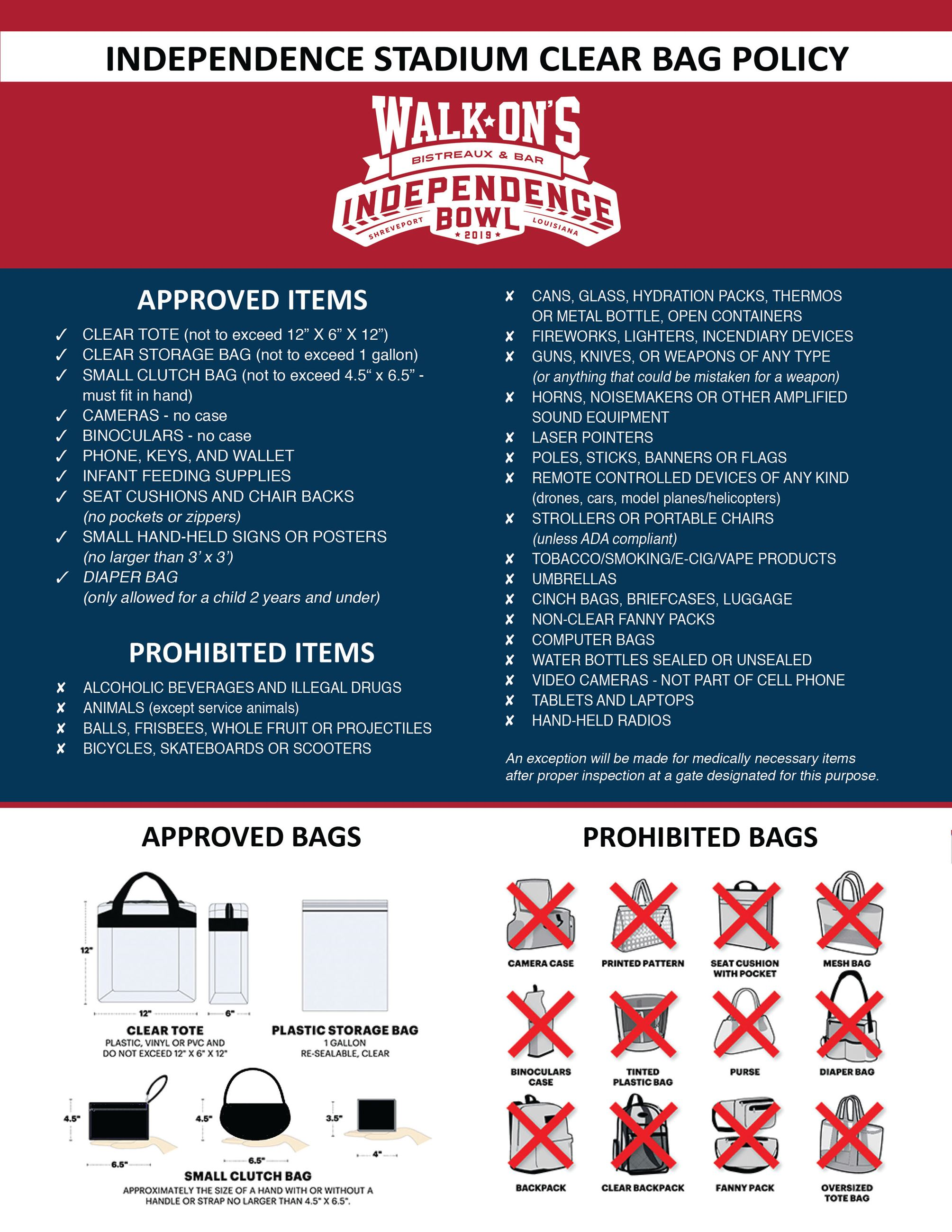 Independence Stadium Clear Bag Policy
