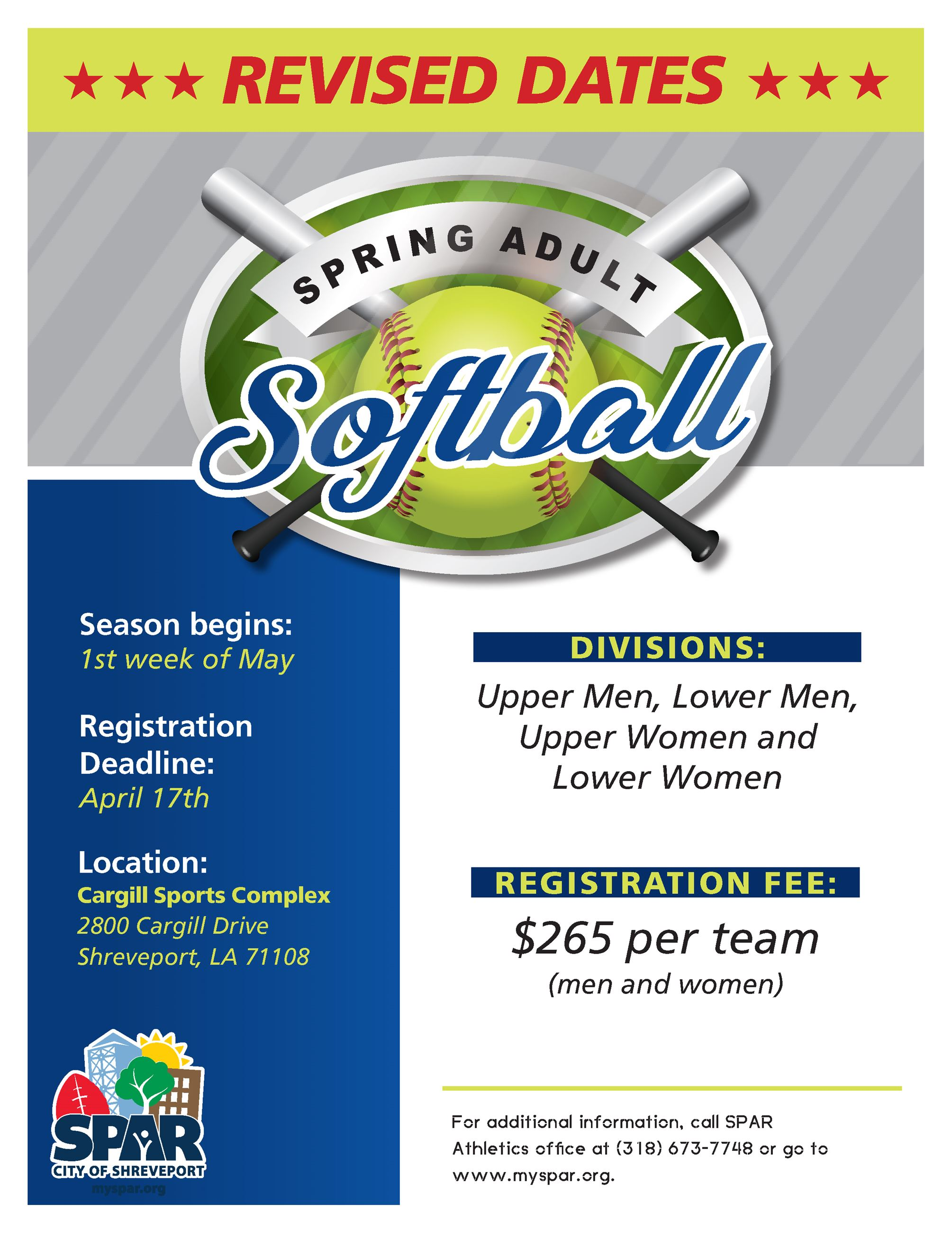 Revised 2020 Adult Spring Softball Flyer